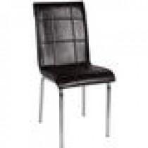 Set 4 scaune pedli Lincoln tapitate cu piele ecologica maro si cadrul metalic cromat