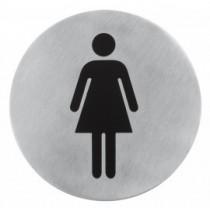 Semn indicator toaleta femei (din inox)  Ų 7.5 cm AdHoreca