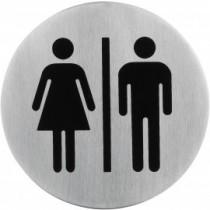 Semn indicator toaleta mixta (din inox),  Ų 7.5 cm AdHoreca