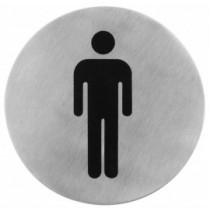 Semn indicator toaleta barbati (din inox),  Ų 7.5 cm AdHoreca