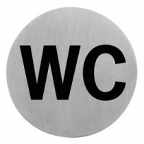 Semn indicator cu initialele WC (din inox),  Ų 7.5 cm AdHoreca
