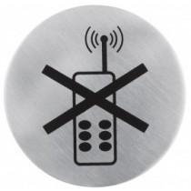 Semn indicator pentru interzicere utilizare telefoane mobile (din inox),  Ų 7.5 cm AdHoreca
