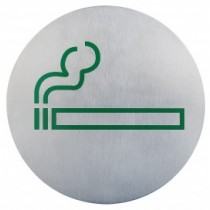 Semn indicator loc pentru fumat/fumatori (din inox),  Ų 16 cm AdHoreca