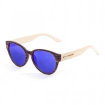 Ochelari Ocean Cool bamboo natural arm brown front   revo blue lens ShopeXtrem