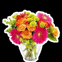 Buchet cu gerbera, trandafiri si crizanteme - Viva la Vida  Roflora