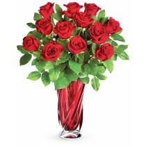 Buchet cu 13 trandafiri rosii - Aroma Dragostei  Roflora