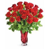 Buchet cu 25 trandafiri rosii - Aroma Dragostei Deluxe Roflora