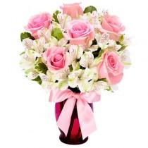 Buchet din trandafiri si alstroemeria - Blush  Roflora
