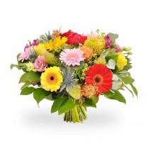 Buchet cu trandafiri, lisianthus, alstroemeria si gerbera - Bucurie Molipsitoare  Roflora