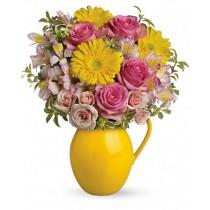 Buchet din trandafiri, gerbera si alstroemeria - Charming  Roflora