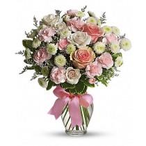 Buchet din trandafiri, garofite si crizanteme - Cotton Candy  Roflora