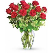 Buchet cu 13 trandafiri rosii - Dragoste Aprinsa  Roflora