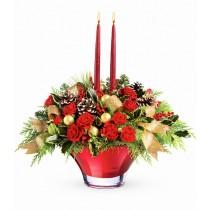 Aranjament din trandafiri si garoafe - Festiv Roflora