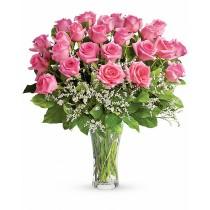 Buchet cu 25 trandafiri roz - Fluturi in Stomac Roflora