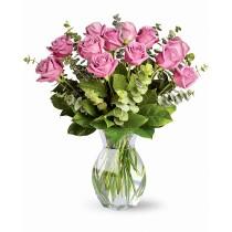 Buchet cu 13 trandafiri roz - Pink Blossom  Roflora