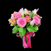 Buchet cu lalele, trandafiri, gerbera si alstroemeria - In al Noualea Cer  Roflora