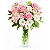 Buchet din trandafiri, crizanteme si alstroemerii - Sincerity  Roflora