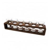 Suport din lemn cu 6 paharute din sticla CDT-15-OSH  ALEXER SRL