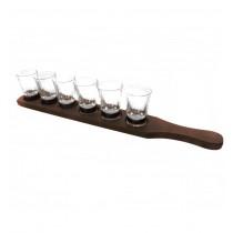 Suport din lemn cu 6 paharute din sticla CDT-16-OSH  ALEXER SRL