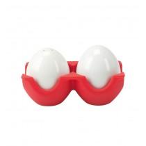 Set pentru sare si piper in forma de ou Twin - rosu  ALEXER SRL
