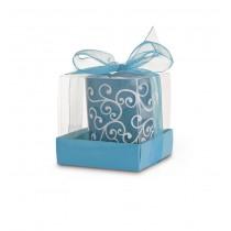 Lumanare decorativa in suport de sticla albastru ALEXER SRL