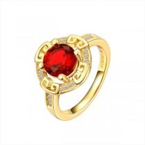 Inel, brand onlinebijoux, placat cu aur de 18k-2 microni,colectia Red Flower IMPEX SILVERGOLD SRL