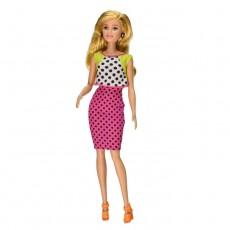 Papusa Barbie Fashionistas, par blond, fusta roz buline