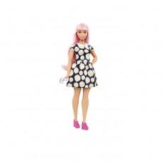 Papusa Mattel Barbie Fashionistas cu ochelari de soare, par roz, rochita inflorata