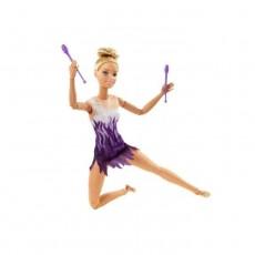 Papusa Barbie on the move, articulata, GIMNASTA, complet mobila