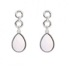 Cercei argintii in forma de lacrima cu piatra roz-deschis