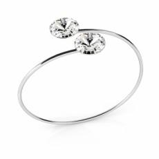 Bratara argint, Bratara Swarovski Double Rivoli Crystal Clear 12mm (Bratara Criando Bijoux) + CADOU Laveta curatat bijuteriile din argint Criando Bijoux