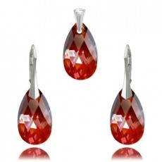 Set argint, Set Swarovski Pear Red Magma 22mm (Set Criando Bijoux) + CADOU Laveta curatat bijuteriile din argint Criando Bijoux