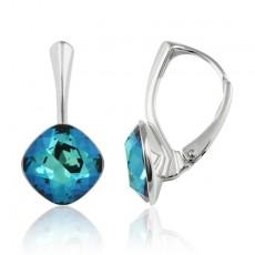 Cercei argint, Cercei Swarovski Cushion Cut Electric Blue 10mm (Cercei Criando Bijoux) + CADOU Laveta curatat bijuteriile din argint Criando Bijoux