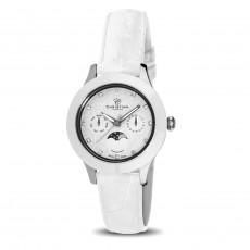 Ceas de dama, Swiss Made, Moon, Argintiu-alb, Curea de piele, 1 Diamant, 11 Safire Christina Diamonds SRL
