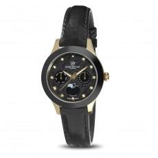 Ceas de dama, Swiss Made, Moon, Auriu-negru, Curea de piele, 1 Diamant, 11 Safire Christina Diamonds SRL