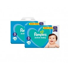 Pachet 2 x Pampers Active Baby Giant Pack - nr.3 , 90 buc
