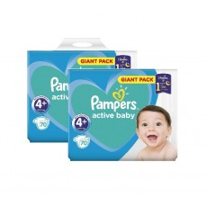 Pachet 2 x Pampers Active Baby Giant Pack - nr.4+, 70 buc