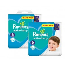 Pachet 2 x Pampers Active Baby Giant Pack - nr.6 , 56 buc