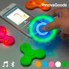 Spinner LED cu Boxă și Bluetooth alb