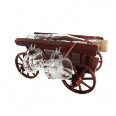 Minibar car mic din lemn cu 4 paharute CDT-07-4P-OSH  ALEXER SRL