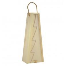 Cutie lemn triunghiulara cu motive de Craciun pentru o sticla de vin CDT-734A  ALEXER SRL