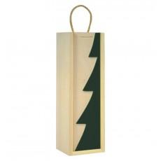 Cutie lemn cu motive de Craciun pentru o sticla de vin CDT-724A  ALEXER SRL