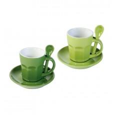 Set 2 cani pentru cafea - Intermezzo - verde/verde inchis  ALEXER SRL