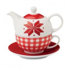 Ceainic ceramic cu model nordic alb-rosu ALEXER SRL