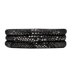 Bratara din piele, Collect, 70 cm, Negru argintiu, Piele italiana Christina Diamonds SRL